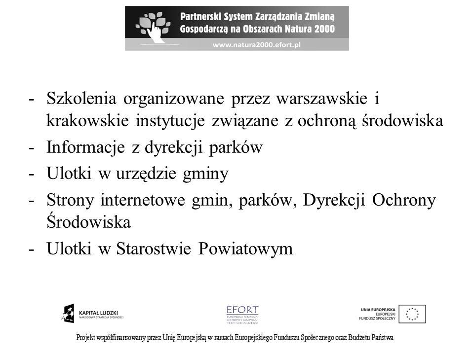 -Szkolenia organizowane przez warszawskie i krakowskie instytucje związane z ochroną środowiska -Informacje z dyrekcji parków -Ulotki w urzędzie gminy