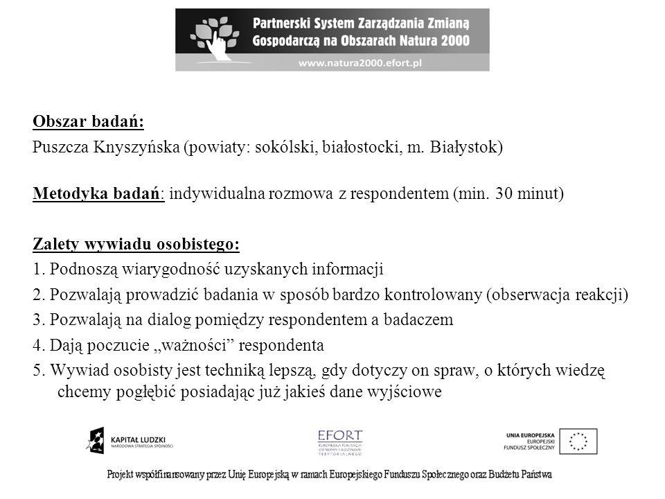 Obszar badań: Puszcza Knyszyńska (powiaty: sokólski, białostocki, m. Białystok) Metodyka badań: indywidualna rozmowa z respondentem (min. 30 minut) Za