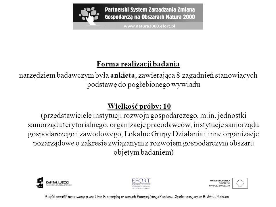 Forma realizacji badania narzędziem badawczym była ankieta, zawierająca 8 zagadnień stanowiących podstawę do pogłębionego wywiadu Wielkość próby: 10 (