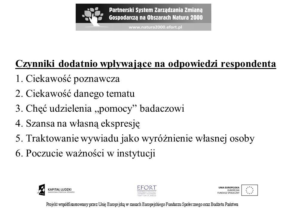 Czynniki dodatnio wpływające na odpowiedzi respondenta 1. Ciekawość poznawcza 2. Ciekawość danego tematu 3. Chęć udzielenia pomocy badaczowi 4. Szansa