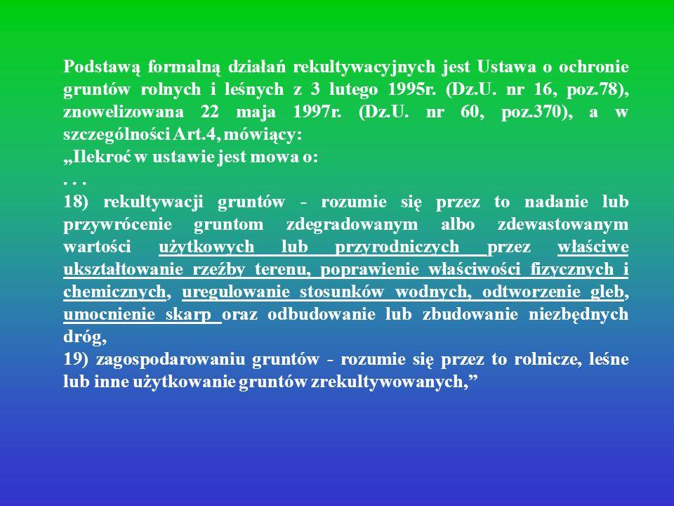 Podstawą formalną działań rekultywacyjnych jest Ustawa o ochronie gruntów rolnych i leśnych z 3 lutego 1995r. (Dz.U. nr 16, poz.78), znowelizowana 22