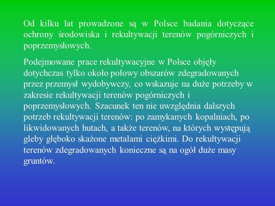 Od kilku lat prowadzone są w Polsce badania dotyczące ochrony środowiska i rekultywacji terenów pogórniczych i poprzemysłowych. Podejmowane prace reku