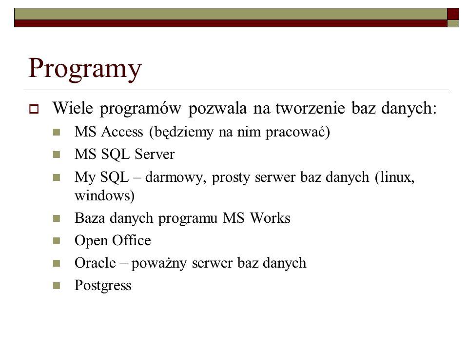 Programy Wiele programów pozwala na tworzenie baz danych: MS Access (będziemy na nim pracować) MS SQL Server My SQL – darmowy, prosty serwer baz danyc