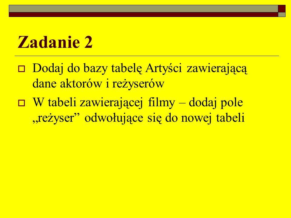 Zadanie 2 Dodaj do bazy tabelę Artyści zawierającą dane aktorów i reżyserów W tabeli zawierającej filmy – dodaj pole reżyser odwołujące się do nowej t