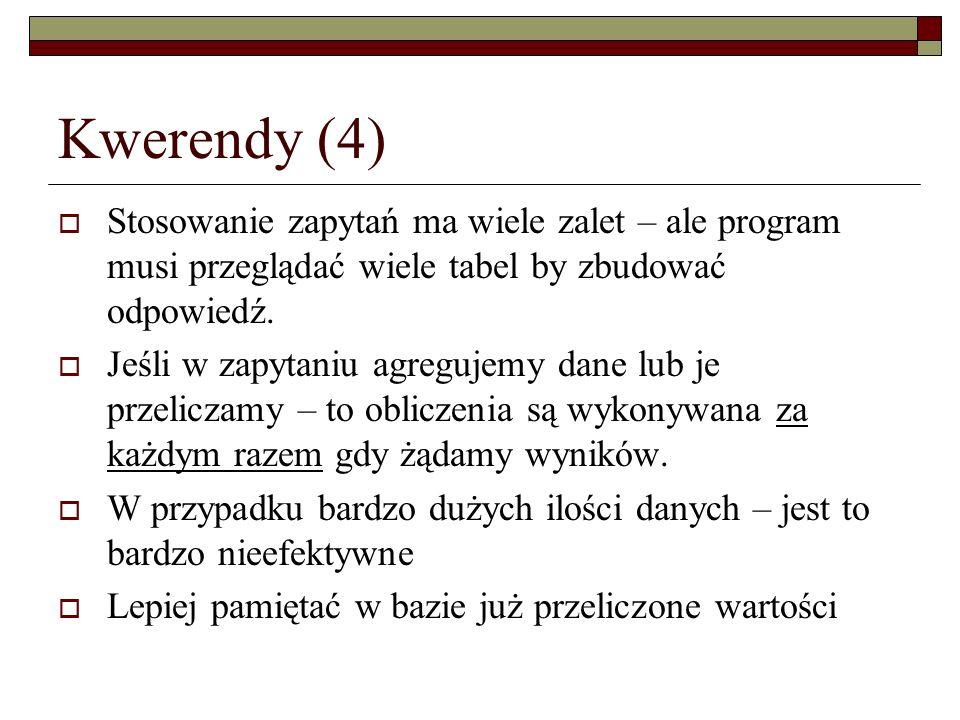Kwerendy (4) Stosowanie zapytań ma wiele zalet – ale program musi przeglądać wiele tabel by zbudować odpowiedź. Jeśli w zapytaniu agregujemy dane lub