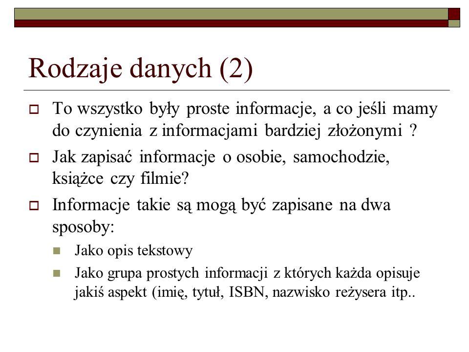 Rodzaje danych (2) To wszystko były proste informacje, a co jeśli mamy do czynienia z informacjami bardziej złożonymi ? Jak zapisać informacje o osobi