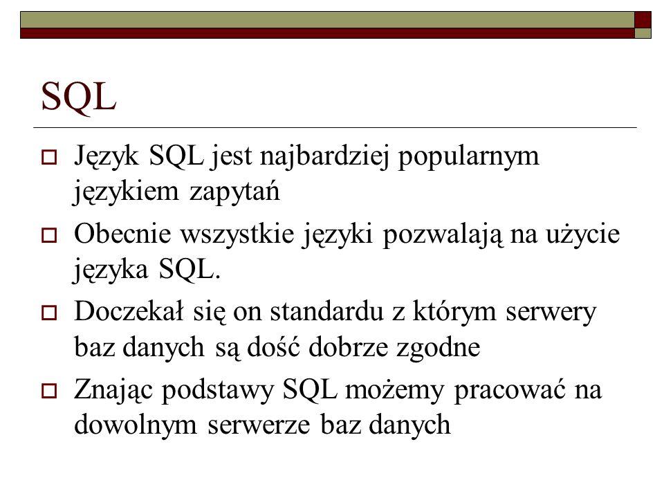 SQL Język SQL jest najbardziej popularnym językiem zapytań Obecnie wszystkie języki pozwalają na użycie języka SQL. Doczekał się on standardu z którym