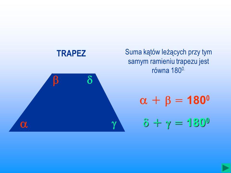 TRAPEZ jest to czworokąt, który ma przynajmniej jedną parę boków równoległych.