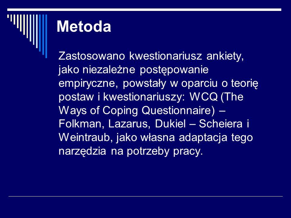 Metoda Zastosowano kwestionariusz ankiety, jako niezależne postępowanie empiryczne, powstały w oparciu o teorię postaw i kwestionariuszy: WCQ (The Ways of Coping Questionnaire) – Folkman, Lazarus, Dukiel – Scheiera i Weintraub, jako własna adaptacja tego narzędzia na potrzeby pracy.