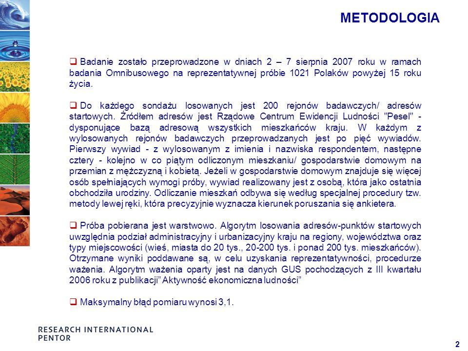2 METODOLOGIA Badanie zostało przeprowadzone w dniach 2 – 7 sierpnia 2007 roku w ramach badania Omnibusowego na reprezentatywnej próbie 1021 Polaków powyżej 15 roku życia.