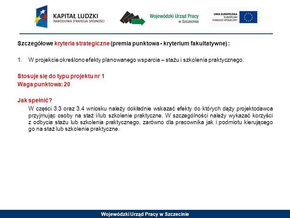 Wojewódzki Urząd Pracy w Szczecinie Szczegółowe kryteria strategiczne (premia punktowa - kryterium fakultatywne) : 1. W projekcie określono efekty pla