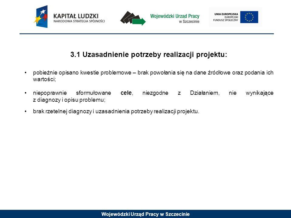 Wojewódzki Urząd Pracy w Szczecinie 3.1 Uzasadnienie potrzeby realizacji projektu: pobieżnie opisano kwestie problemowe – brak powołania się na dane ź