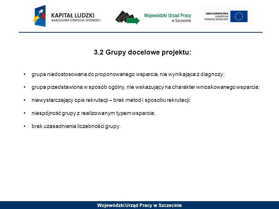 Wojewódzki Urząd Pracy w Szczecinie 3.2 Grupy docelowe projektu: grupa niedostosowana do proponowanego wsparcia, nie wynikająca z diagnozy; grupa przedstawiona w sposób ogólny, nie wskazujący na charakter wnioskowanego wsparcia; niewystarczający opis rekrutacji – brak metod i sposobu rekrutacji; niespójność grupy z realizowanym typem wsparcia; brak uzasadnienia liczebności grupy.