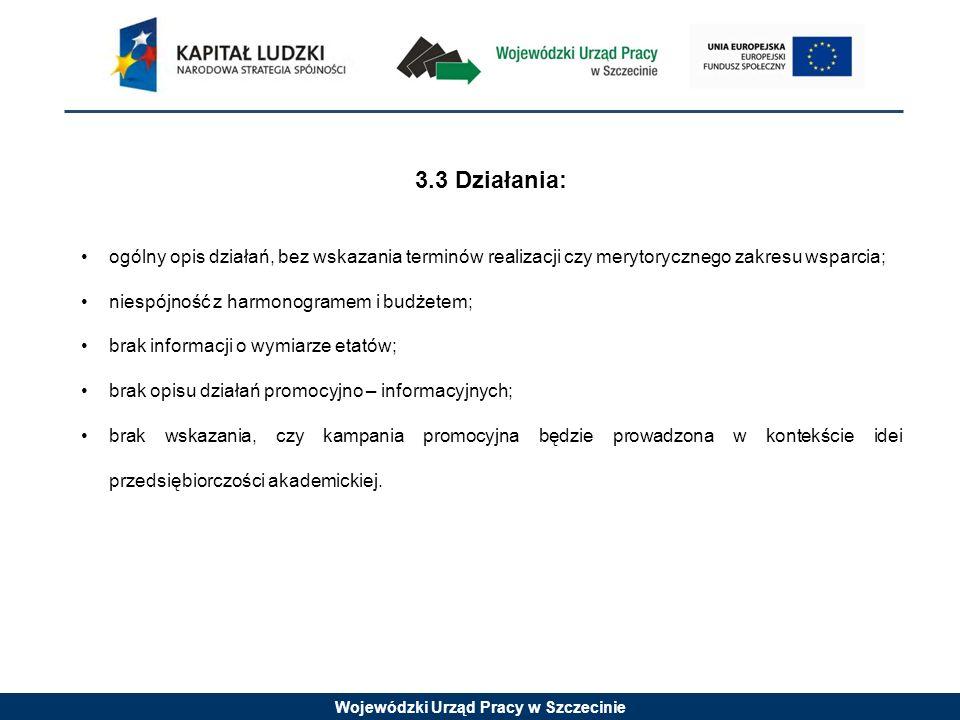 Wojewódzki Urząd Pracy w Szczecinie 3.3 Działania: ogólny opis działań, bez wskazania terminów realizacji czy merytorycznego zakresu wsparcia; niespój