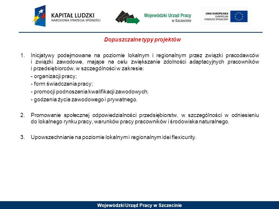 Wojewódzki Urząd Pracy w Szczecinie Dopuszczalne typy projektów 1.Inicjatywy podejmowane na poziomie lokalnym i regionalnym przez związki pracodawców i związki zawodowe, mające na celu zwiększanie zdolności adaptacyjnych pracowników i przedsiębiorców, w szczególności w zakresie: - organizacji pracy; - form świadczenia pracy; - promocji podnoszenia kwalifikacji zawodowych; - godzenia życia zawodowego i prywatnego.