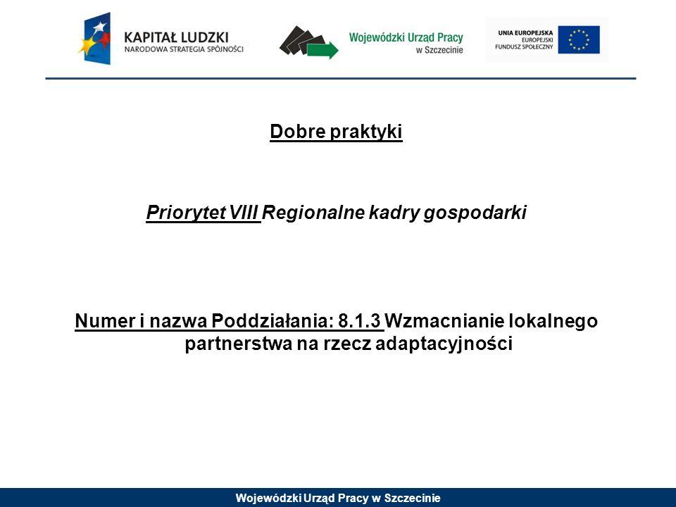 Wojewódzki Urząd Pracy w Szczecinie Dobre praktyki Priorytet VIII Regionalne kadry gospodarki Numer i nazwa Poddziałania: 8.1.3 Wzmacnianie lokalnego partnerstwa na rzecz adaptacyjności