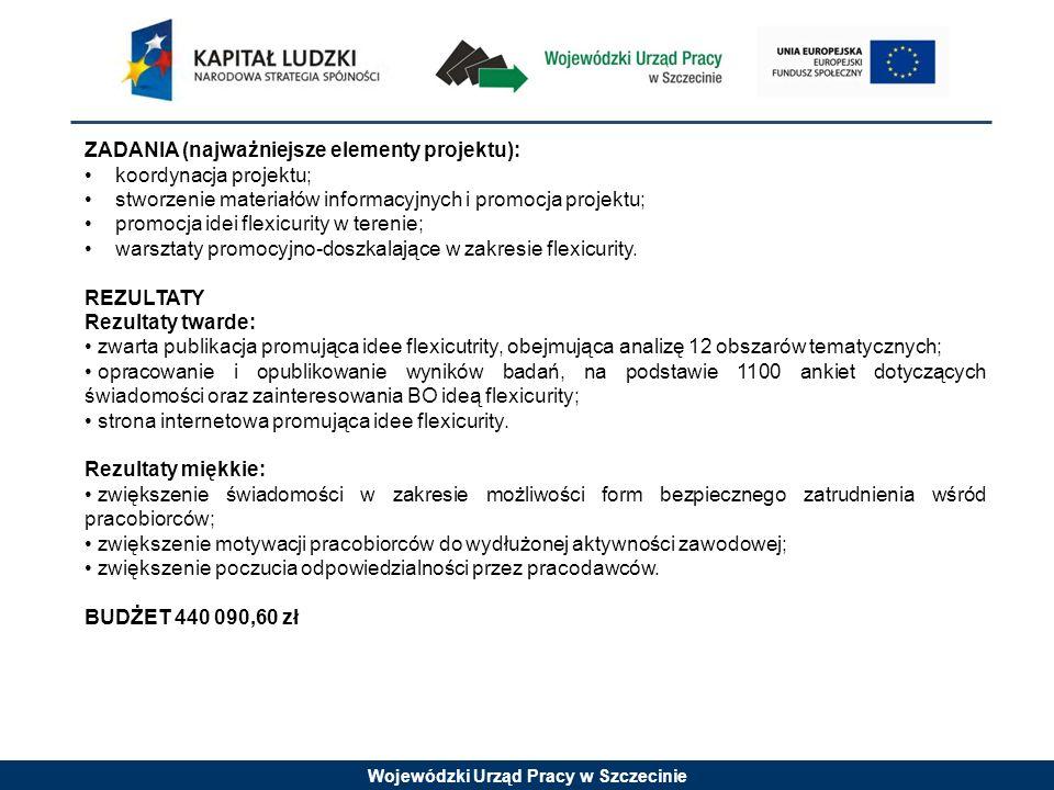 Wojewódzki Urząd Pracy w Szczecinie ZADANIA (najważniejsze elementy projektu): koordynacja projektu; stworzenie materiałów informacyjnych i promocja projektu; promocja idei flexicurity w terenie; warsztaty promocyjno-doszkalające w zakresie flexicurity.