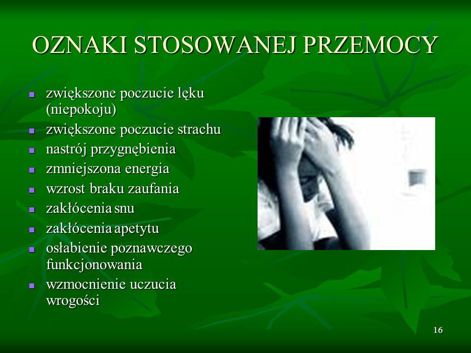 16 OZNAKI STOSOWANEJ PRZEMOCY zwiększone poczucie lęku (niepokoju) zwiększone poczucie lęku (niepokoju) zwiększone poczucie strachu zwiększone poczuci