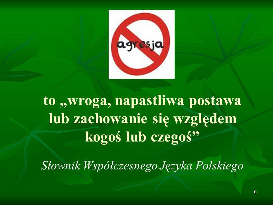 6 to wroga, napastliwa postawa lub zachowanie się względem kogoś lub czegoś Słownik Współczesnego Języka Polskiego