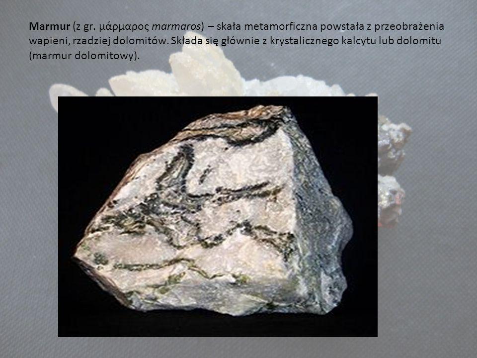 Marmur (z gr. μάρμαρος marmaros) – skała metamorficzna powstała z przeobrażenia wapieni, rzadziej dolomitów. Składa się głównie z krystalicznego kalcy