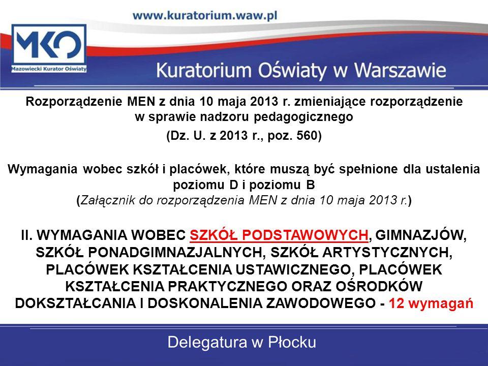 Rozporządzenie MEN z dnia 10 maja 2013 r.
