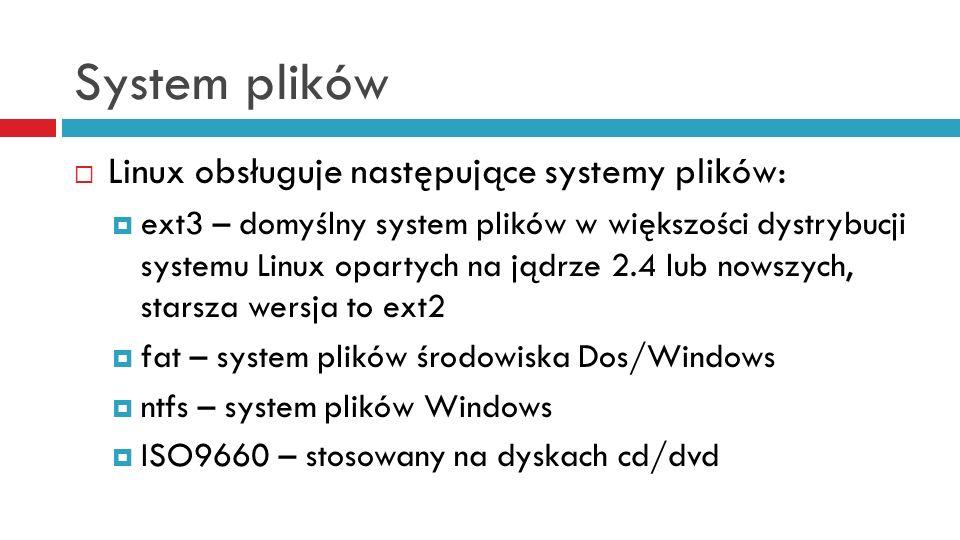System plików Linux obsługuje następujące systemy plików: ext3 – domyślny system plików w większości dystrybucji systemu Linux opartych na jądrze 2.4