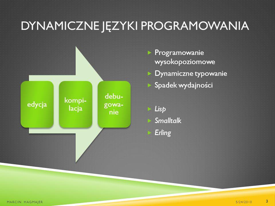DYNAMICZNE JĘZYKI PROGRAMOWANIA 5/24/2010MARCIN HAGMAJER 3 edycja kompi- lacja debu- gowa- nie Programowanie wysokopoziomowe Dynamiczne typowanie Spadek wydajności Lisp Smalltalk Erling