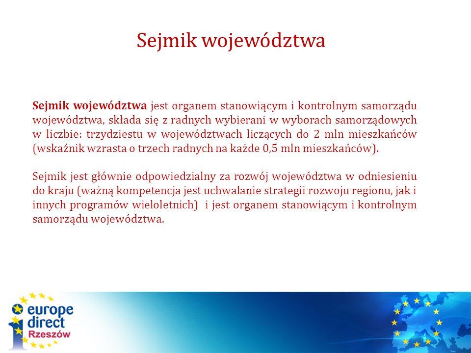 Sejmik województwa Sejmik województwa jest organem stanowiącym i kontrolnym samorządu województwa, składa się z radnych wybierani w wyborach samorządo