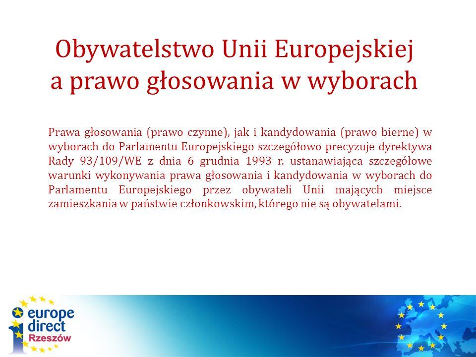 Obywatelstwo Unii Europejskiej a prawo głosowania w wyborach Prawa głosowania (prawo czynne), jak i kandydowania (prawo bierne) w wyborach do Parlamen