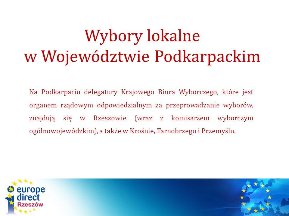 Na Podkarpaciu delegatury Krajowego Biura Wyborczego, które jest organem rządowym odpowiedzialnym za przeprowadzanie wyborów, znajdują się w Rzeszowie