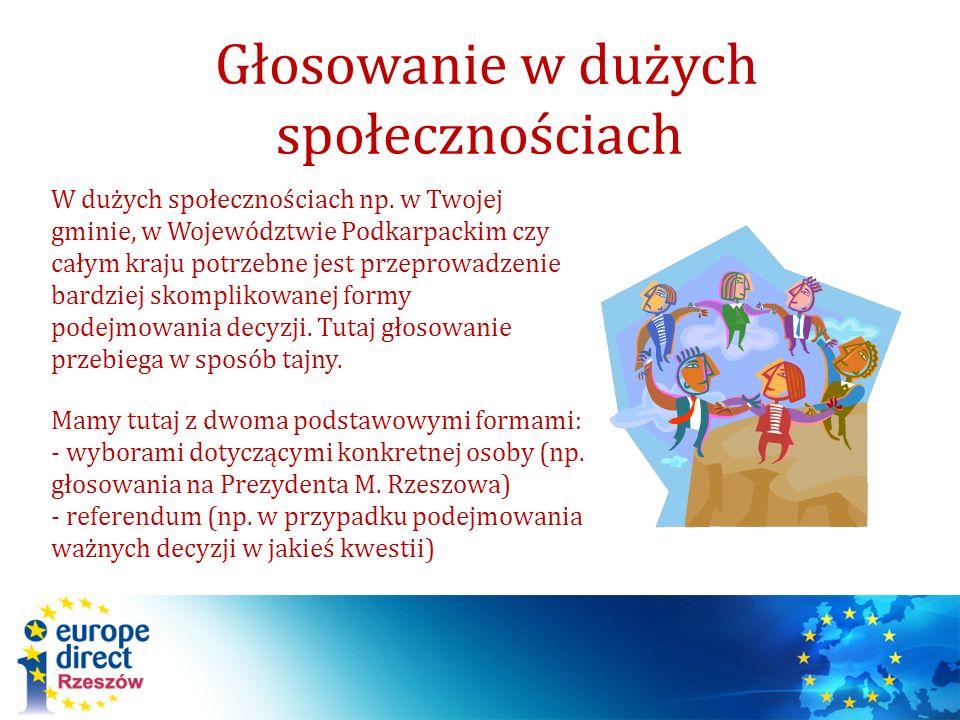 W dużych społecznościach np. w Twojej gminie, w Województwie Podkarpackim czy całym kraju potrzebne jest przeprowadzenie bardziej skomplikowanej formy