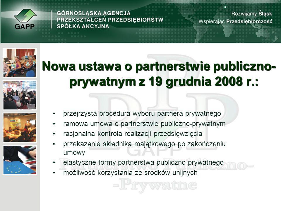 Nowa ustawa o partnerstwie publiczno- prywatnym z 19 grudnia 2008 r.: przejrzysta procedura wyboru partnera prywatnego ramowa umowa o partnerstwie publiczno-prywatnym racjonalna kontrola realizacji przedsięwzięcia przekazanie składnika majątkowego po zakończeniu umowy elastyczne formy partnerstwa publiczno-prywatnego możliwość korzystania ze środków unijnych