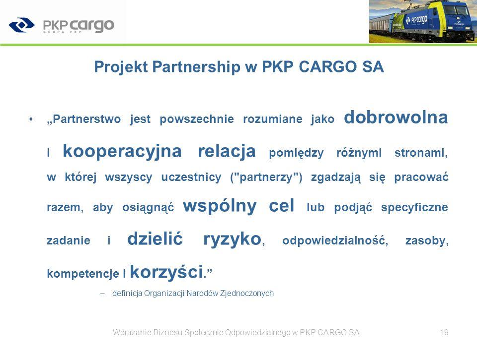 Projekt Partnership w PKP CARGO SA Wdrażanie Biznesu Społecznie Odpowiedzialnego w PKP CARGO SA20