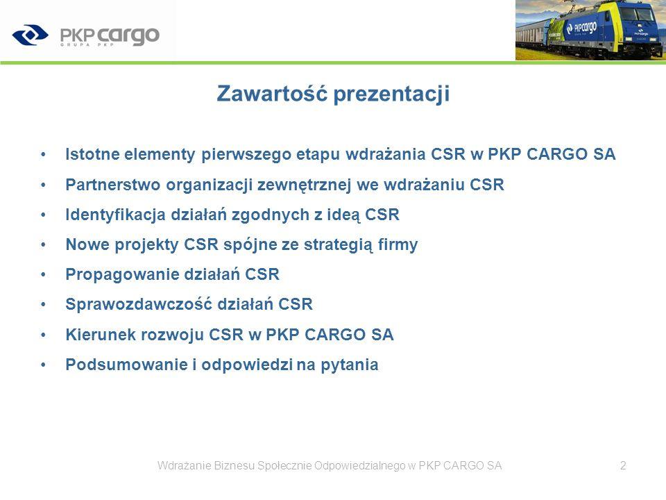 Pierwszy etap wdrażania CSR w PKP CARGO SA luty 2008 – początek projektu Wdrażanie Biznesu Społecznie Odpowiedzialnego w PKP CARGO SA3 Ważne w pierwszym etapie projektu Skąd pochodzi inicjatywa.