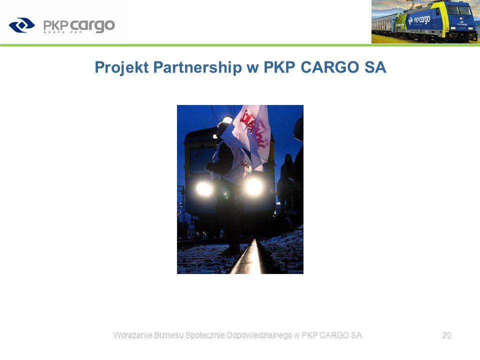 Projekt Partnership w PKP CARGO SA Wdrażanie Biznesu Społecznie Odpowiedzialnego w PKP CARGO SA21 Partnerstwo – nowoczesną formą dialogu Przejrzystość zasad współpracy Konkretne, mierzalne efekty
