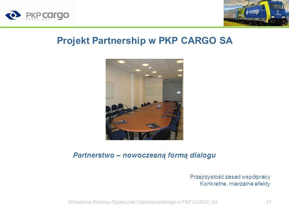 Projekt Partnership w PKP CARGO SA - korzyści Model partnerski wpływa na: trafniejsze (wspólne) podejmowanie decyzji, szybszą reakcję na zmianę, trafniejszą ocenę sytuacji (poprzez informację zwrotną), większe zrozumienie celów biznesowych przez pracowników, lepsze zrozumienie i zaakceptowanie sposobów osiągania celów przez pracowników, większe zaangażowanie pracowników Przywództwo partnerskie wzmacnia współpracę, synergię działań, przepływ informacji i przyczynia się do skutecznego realizowania zadań biznesowych.