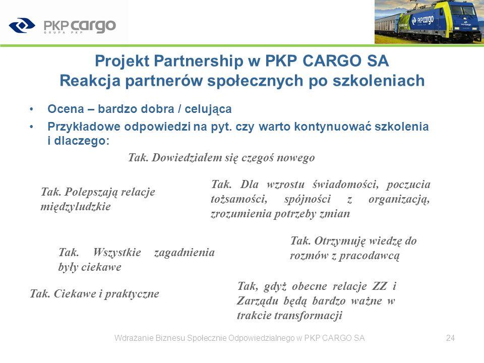 Projekt Partnership w PKP CARGO SA Cechy podstawowe projektu CSR –obszar odpowiedzialności Partnerzy społeczni / pracownicy –typ działania CSR Działalność wspierająca procesy zarządzania / szczególnie zarządzania zmianą –zysk dla firmy Polepszenie wizerunku PKP CARGO SA jako pracodawcy (na rynku zew.