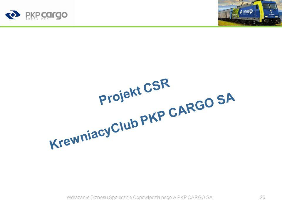 KrewniacyClub PKP CARGO S.A. 27Wdrażanie Biznesu Społecznie Odpowiedzialnego w PKP CARGO SA