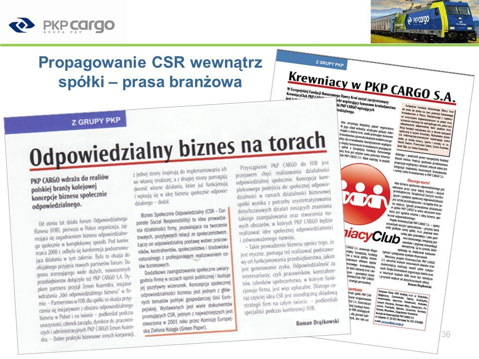 Propagowanie CSR – strona internetowa Wdrażanie Biznesu Społecznie Odpowiedzialnego w PKP CARGO SA 37
