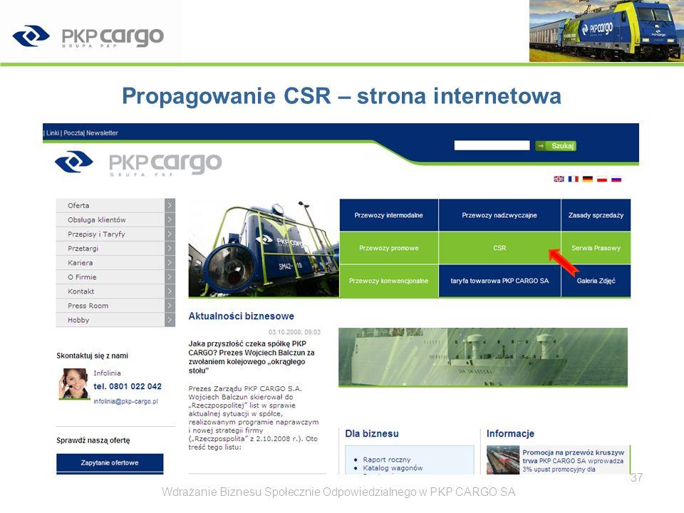 Propagowanie CSR – strona internetowa Wdrażanie Biznesu Społecznie Odpowiedzialnego w PKP CARGO SA38