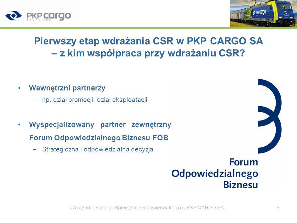 Partnerstwo organizacji zewnętrznej we wdrażaniu CSR Wdrażanie Biznesu Społecznie Odpowiedzialnego w PKP CARGO SA6 Wręczenie dyplomu partnerstwa marzec 2008