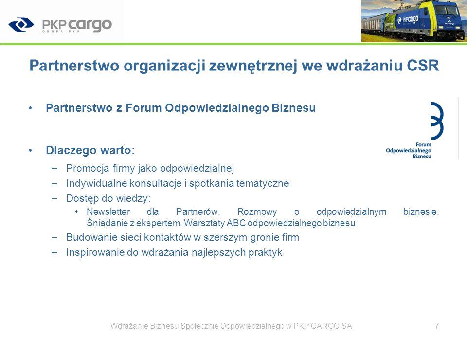 Partnerstwo organizacji zewnętrznej we wdrażaniu CSR Duża aktywność w kontaktach FOB z partnerami Wdrażanie Biznesu Społecznie Odpowiedzialnego w PKP CARGO SA8