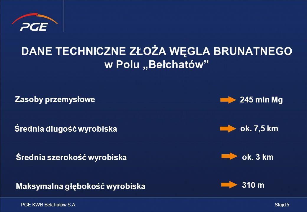 Kamienie milowe dla Pola Szczerców 2002 Rozpoczęcie pracy I układu KTZ 1997 Uzyskanie koncesji na wydobycie węgla brunatnego i kopalin towarzyszących ze złoża w Polu Szczerców 2009 Wydobycie pierwszych ton węgla brunatnego PGE KWB Bełchatów S.A.Slajd 6 2040 Zakończenie prac wydobywczych w Polu Szczerców 2008 Oddanie do użytku trasy przenośników łączących Pola Bełchatów i Szczerców