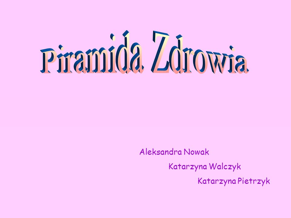 Aleksandra Nowak Katarzyna Walczyk Katarzyna Pietrzyk