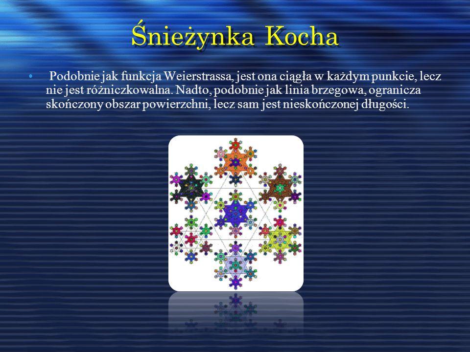 Śnieżynka Kocha Podobnie jak funkcja Weierstrassa, jest ona ciągła w każdym punkcie, lecz nie jest różniczkowalna. Nadto, podobnie jak linia brzegowa,