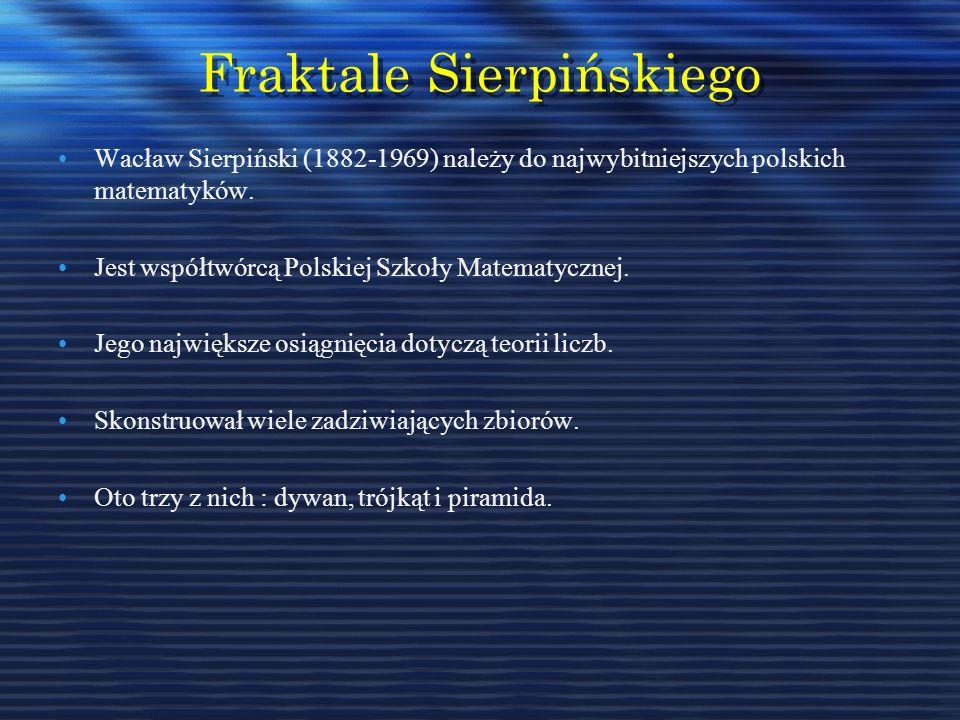 Fraktale Sierpińskiego Wacław Sierpiński (1882-1969) należy do najwybitniejszych polskich matematyków. Jest współtwórcą Polskiej Szkoły Matematycznej.
