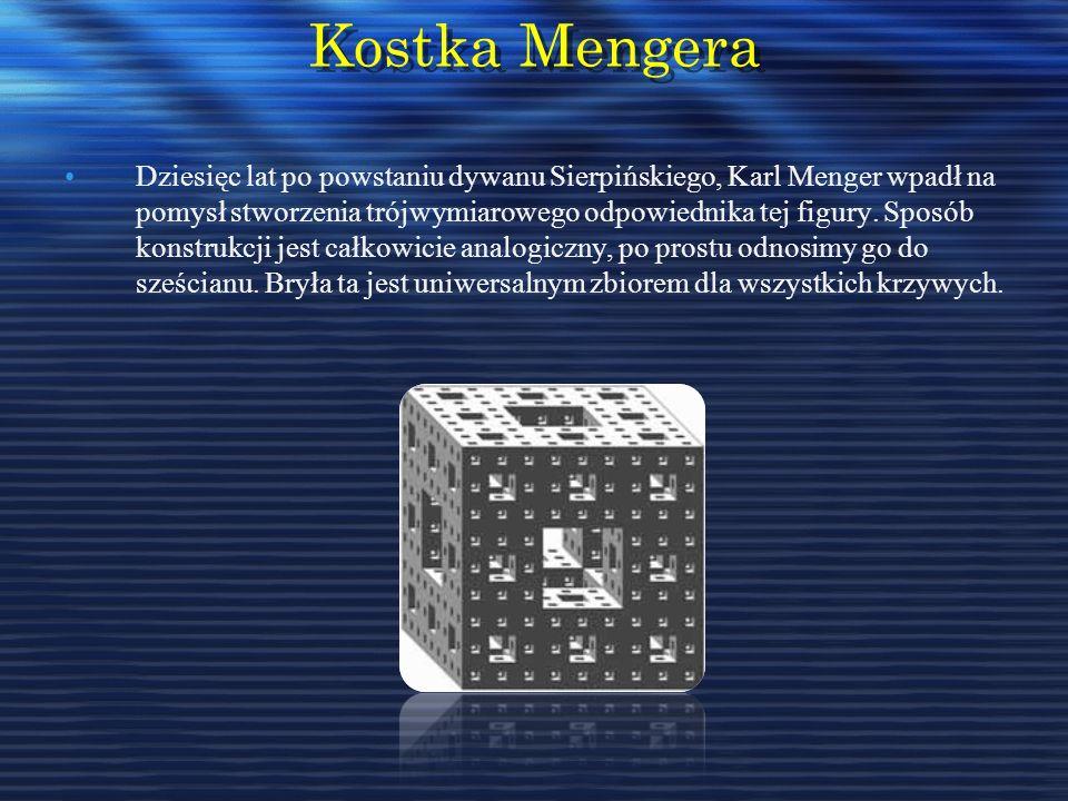 Kostka Mengera Dziesięc lat po powstaniu dywanu Sierpińskiego, Karl Menger wpadł na pomysł stworzenia trójwymiarowego odpowiednika tej figury. Sposób