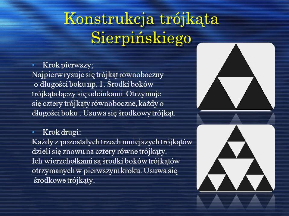 Konstrukcja trójkąta Sierpińskiego Krok pierwszy; Najpierw rysuje się trójkąt równoboczny o długości boku np. 1. Środki boków trójkąta łączy się odcin