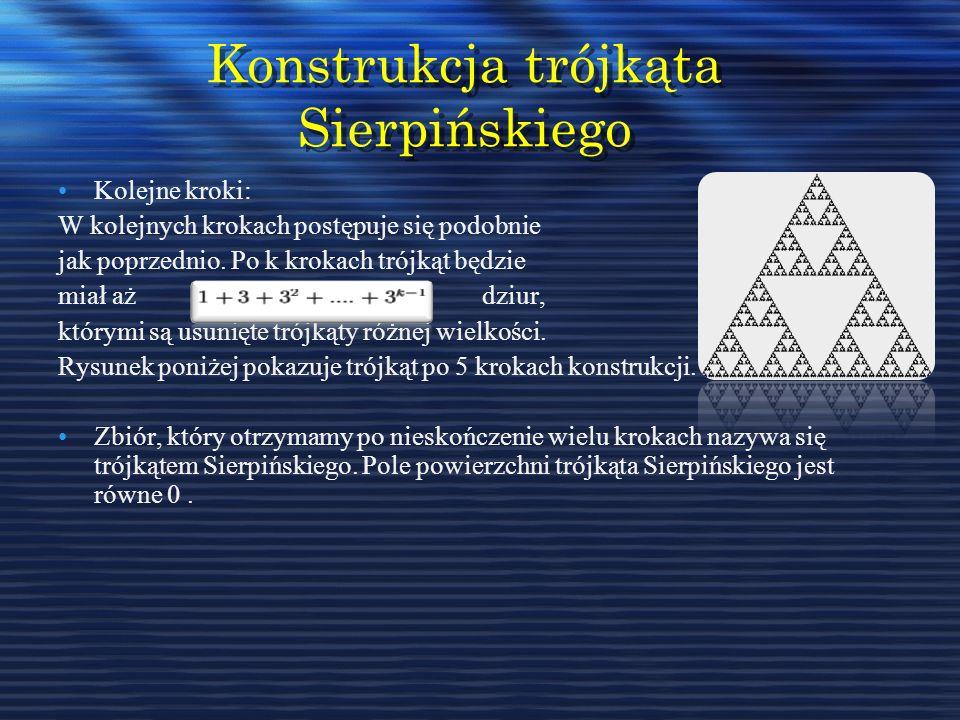 Konstrukcja trójkąta Sierpińskiego Kolejne kroki: W kolejnych krokach postępuje się podobnie jak poprzednio. Po k krokach trójkąt będzie miał aż dziur