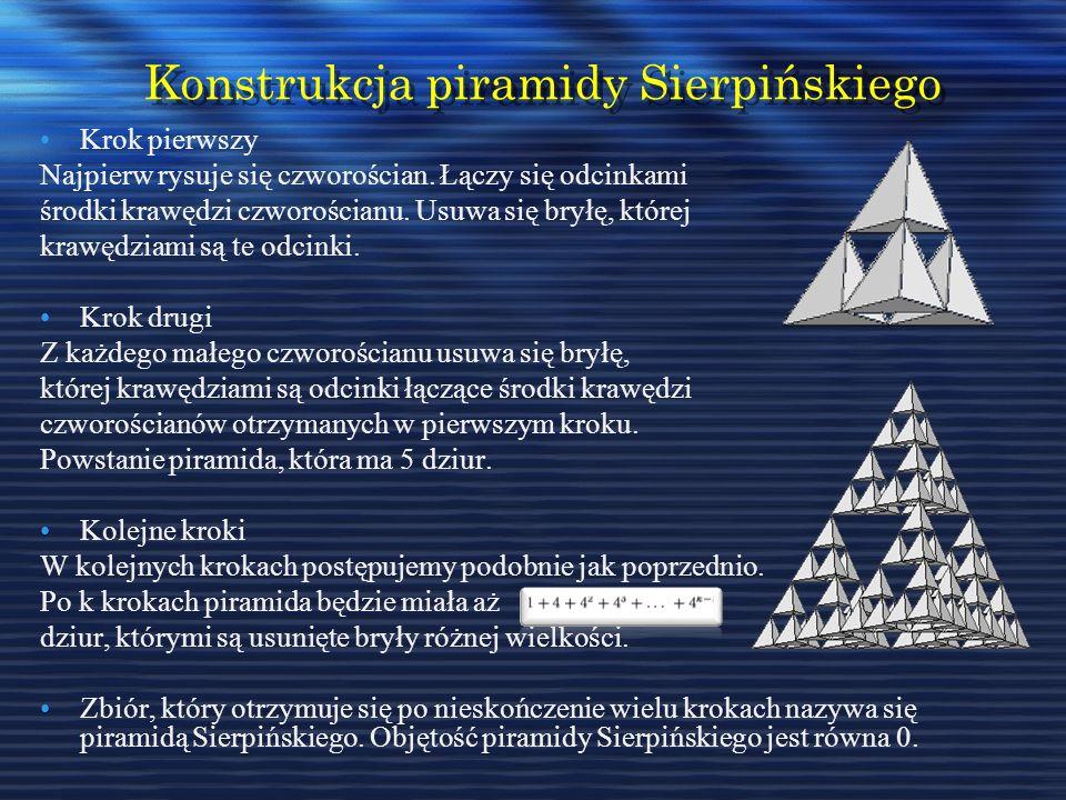 Konstrukcja piramidy Sierpińskiego Krok pierwszy Najpierw rysuje się czworościan. Łączy się odcinkami środki krawędzi czworościanu. Usuwa się bryłę, k